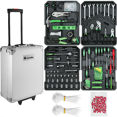 699 Pcs aluminium metal tool box with tools kit storage mobile trolley on wheels