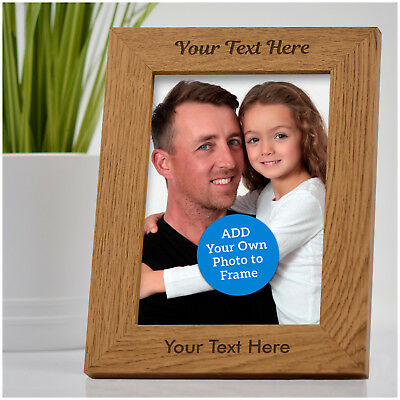 PERSONALISED Oak Effect Photo Frame 6 x 4, 5 x 7 - Custom Engraved Any Messages