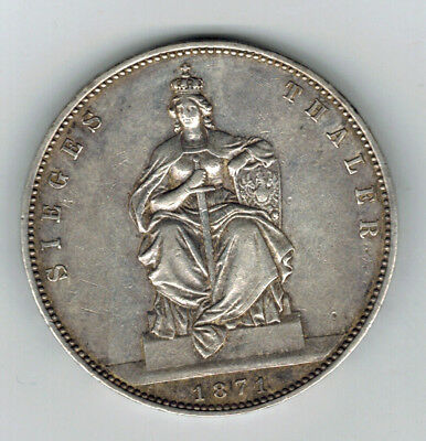 PRUSSIA (German State) 1 Thaler 1871 A - Silver - Victory of France XF