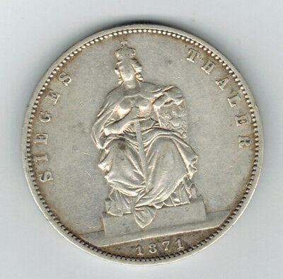 PRUSSIA (German State) 1 Thaler 1871 A - Silver - Victory of France