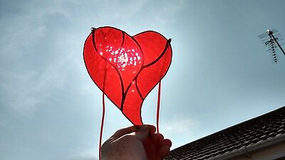 2a041d4cf6a6 Stained Glass Suncatcher Red Heart Gift Tiffany Style (Handmade) Brand New