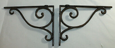 2 Shelf Brackets Supports Cast Iron Brace Antique Style Scrolls 7 x 9 1/2