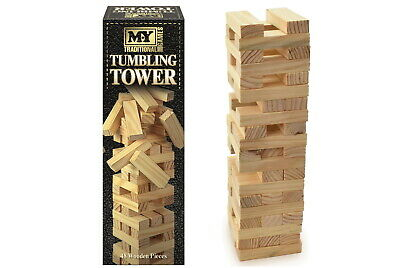 54 Pieces Jenga Wooden Tumbling Tower Game Indoor Outdoor Garden Toys Gift Au