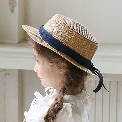 Kids Girl Hat Sunhat Straw Knitted Ribbon AU Stock One size 3Y-7Y