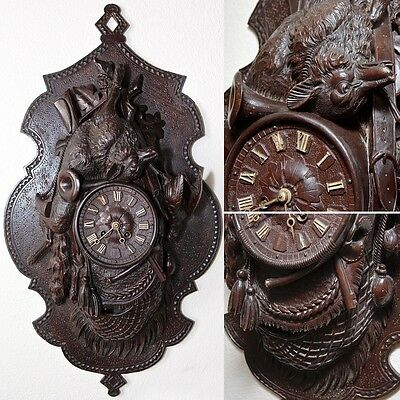 """Large Antique Black Forest 27.5"""" Wall Clock, Hunt Theme Plaque, FOX & Game Bird"""