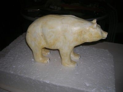 Polar Bear Large Wooden Decorative Vintage Figure Art Toy Hand Carved Animal