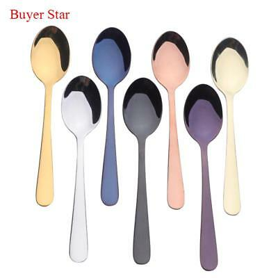 Gold Tea Spoon Good Mirror Polish 18/10 Stainless Steel Small Silver Scoop 7pcs
