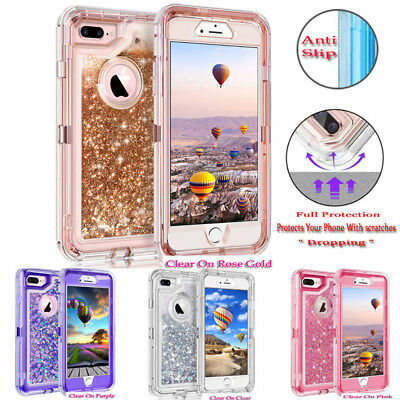 iphone 7,iphone 8,8 plus 6s iphone X Defender Liquid Glitter Case Fits Otter box
