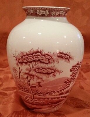 """Spode Pink Tower Vase Large 8""""H x 6""""W Unused MINT"""