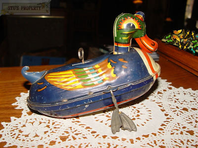Vtg German Made? Paddling Swimming Duck - Tin Litho Wind Up 1920's - 1940's RARE