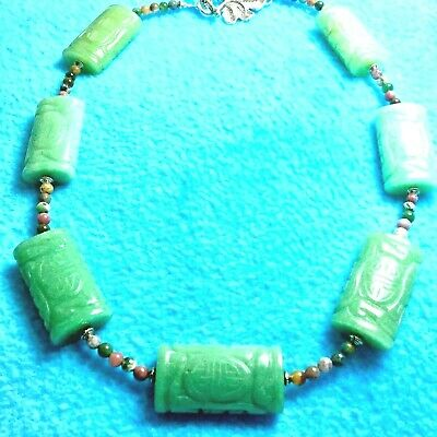#138 SALE  7 AVENTURINE ORIENTAL HAND-CARVED 36mm GEMS NECKLACE +NATIVE MADE