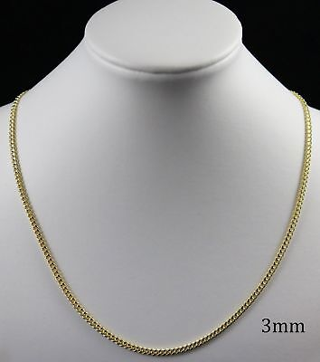 18K Gold Plated Curb Cuban Link Chain Necklace Bracelet 3mm TARNISH RESISTANT