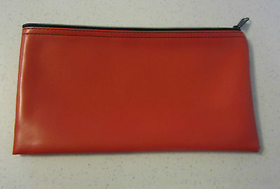 1 Red Vinyl Zipper Bank Bag Money Jewelry Pouch Coin Currency Wallet Coupons