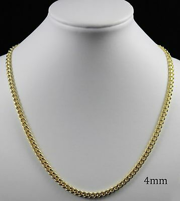 18K Gold Plated Curb Cuban Link Chain Necklace Bracelet 4mm TARNISH RESISTANT