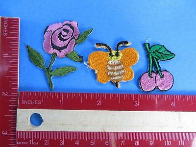 3 pcs wholesale lot of of small size flower, cherry and bee embroidered patches