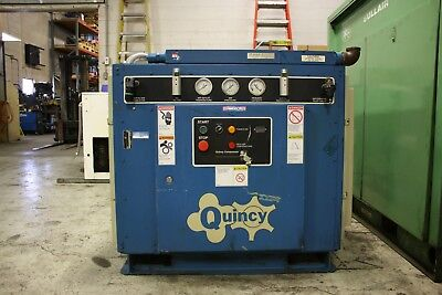 Used Quincy 60 hp air cooled rotary screw air compressor  460 v 125 psi 260 cfm