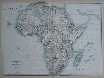 Original 1890 Black Antique Color Map AFRICA Slave Coast Colonial Possessions