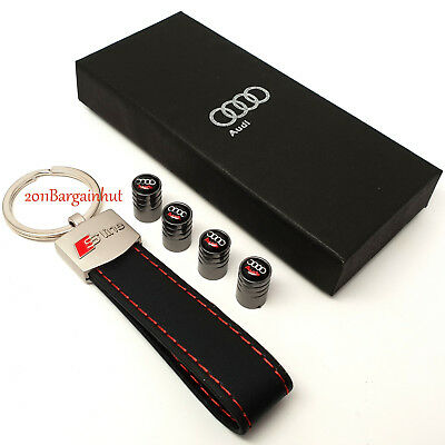 Audi leather key ring with tyre valve dust caps cover fob key chain case s line