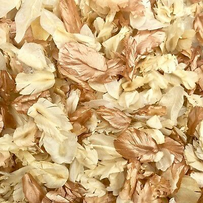 ROSE GOLD Ivory Biodegradable WEDDING CONFETTI flutterfall Real Throwing Petals