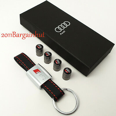 Audi RS leather key ring with tyre valve dust caps RS3 RS4 RS5 RS6 Leather Key