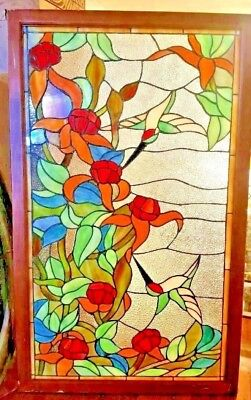 Stained glass leaded window Beautiful Colors with Humming Bird Wooden Frame