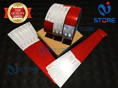 "25 Strips DOT-C2 Reflective Tape 7"" White & 11"" Red Safety Warning Truck Trailer"