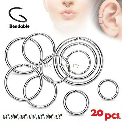 20pcs Wholesale Surgical Steel Seamless Hoop Labret Septum Ears Tragus Nose Ring
