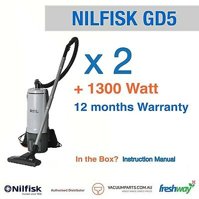 2 x NEW Nilfisk GD5 Commercial Backpack Vacuum Cleaner with 1 Yr Warranty
