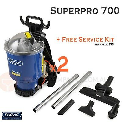 2 Pacvac Superpro 700 Backpack Vac Cleaner 2 Cloth 5 Dust Bag + Free Service Kit