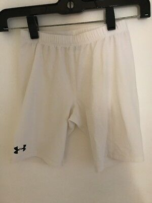 Youth White Under Armour Compression Shorts Size Large