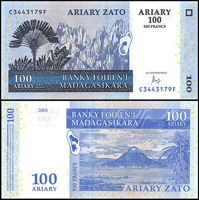Madagascar 100 Ariary Banknote, 2004, P-86c, UNC, Plants, Mountains