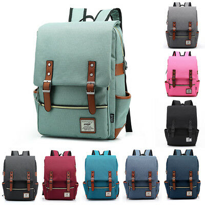 Canvas Backpack Mens Women School  Travel Rucksack Laptop Satchel Shoulder Bag