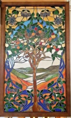 Stained glass Leaded Window Tree of Life Most loved from History Wooden Frame