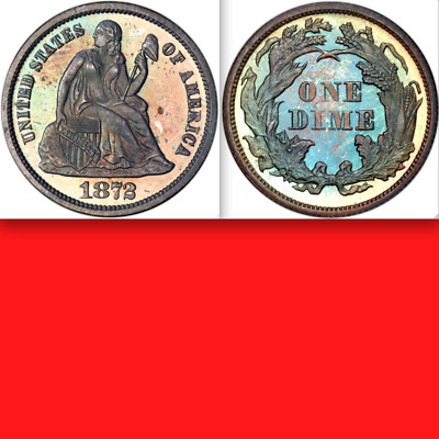 1872 PCGS PR64 █ 950 Minted █ $840 Ask ✭Colorful Proof✭ Seated Liberty Dime 10C