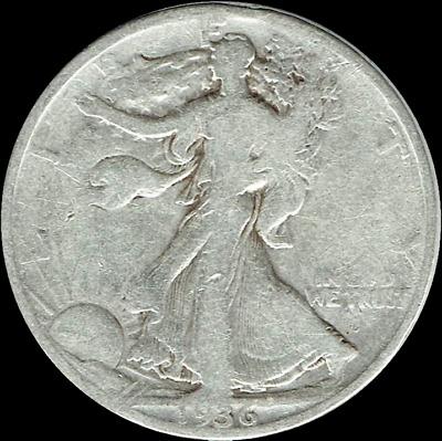 "A 1936 S Walking Liberty Half Dollar 90% SILVER US Mint ""Average Circulation"""
