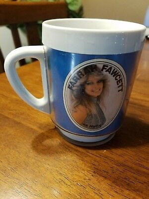 Original 1976 Logan's Run Farrah Fawcett mug blue
