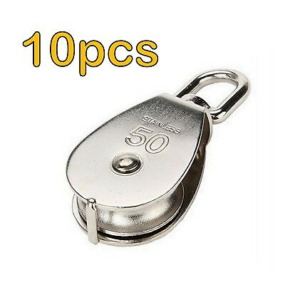 10x STAINLESS STEEL 50mm SINGLE PULLEY BLOCK ROPE CHAIN LIFTING TRACTION WHEEL B