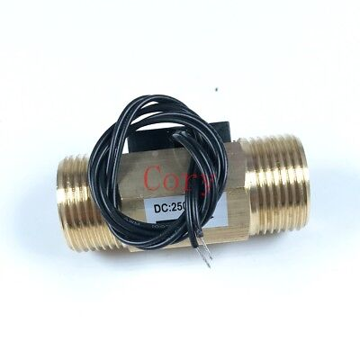 1PC Water Flow Switch Magnetic DC250V Brass G3/4 26mm Male Thread Port 1-30L/min