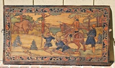 Antique FRENCH PYROGRAPHY Polychrome Carved Wood Hunt Scene Plaque Signed Lugrin