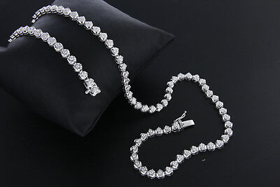1.25ct Round Natural Diamond Tennis Necklace 18k White Gold Over For Women's