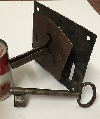 "Large Antique Door Lock Hand Forged Iron w/ Skeleton Key 18th Century 4"" Deep"