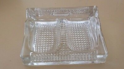 ANTIQUE CLEAR DEPRESSION GLASS DOUBLE nib pen holder/paper clip holder