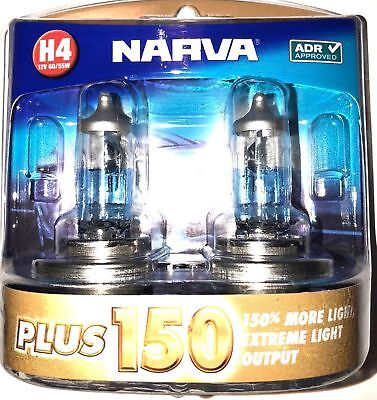 Narva H4 +150% Plus 150 Halogen Light Bulbs Globes New 12V 48382Bl2