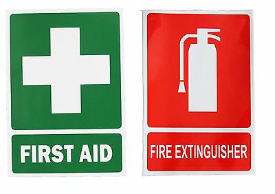UV FIRST AID & FIRE EXTINGUISHER sign Sticker Safety WHS Workplace vehicle PAIR