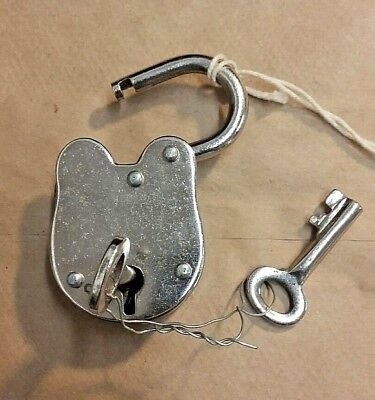 Padlock and keys, Old Vintage Antique 1800s Style  Police Jailer,  Silver Finish