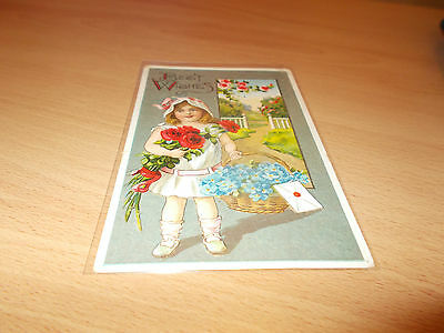 PRE 1920s VINTAGE POST CARD BEST WISHES GIRL WITH FLOWERS.