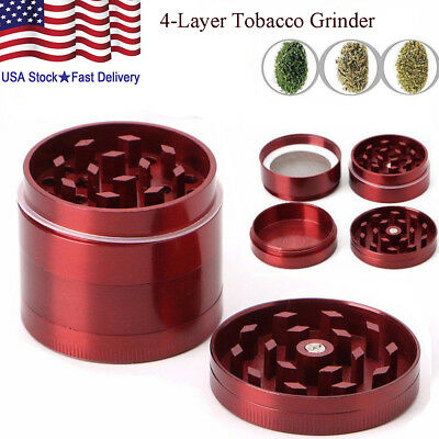 Red Tobacco Grinder Herb Spice 4Piece Herbal Alloy Smoke Chromium Crusher