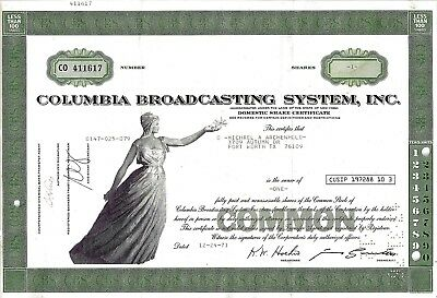 Columbia Broadcasting System Inc (CBS), 1971  (1 Share)