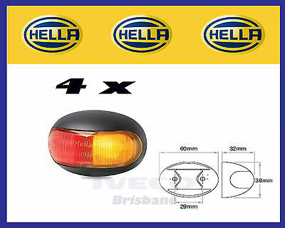 New Hella 2053 LED Side Marker Light / Lamp Red / Amber 9 - 33 Volt Pack of 4