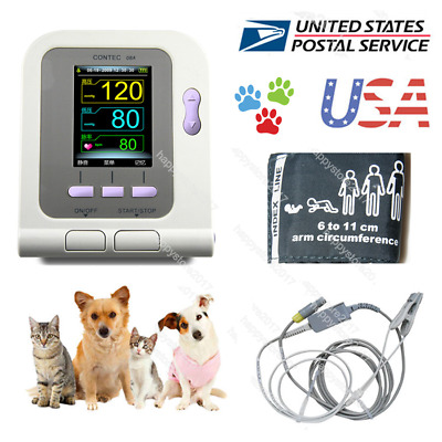 USA FDA Digital Veterinary Blood Pressure Monitor CONTEC08A, VET NIBP+SP02 Probe